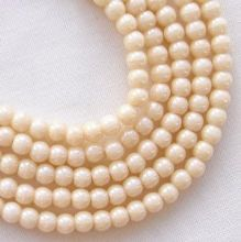 3mm Round Czech Glass Beads Opaque Champagne Lustre - 100